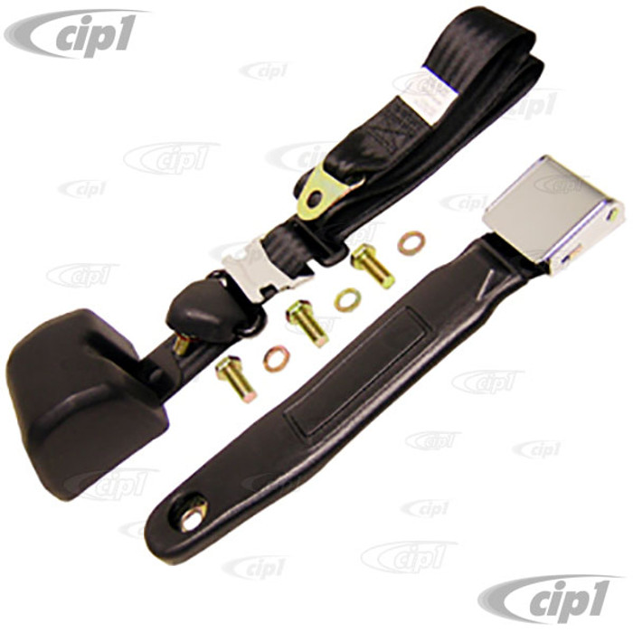 C26-857-033 - RETRACTABLE 3 POINT BLACK SEAT BELT WITH VINTAGE STYLE CHROME FLAP LATCH - LEFT OR RIGHT - SOLD EACH  (MOUNTING BRACKETS SOLD SEPARATELY)