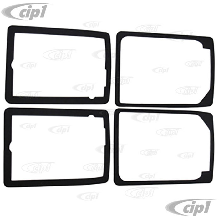 C27-211-953-165-D - (211953165D) EXCELLENT GERMAN QUALITY REPRODUCTION - 4 PIECE FRONT TURN SIGNAL FOAM SEAL SET - 2 INNER / 2 OUTER SEALS  - DOES 1 BUS 73-79 - BOTH SIDES
