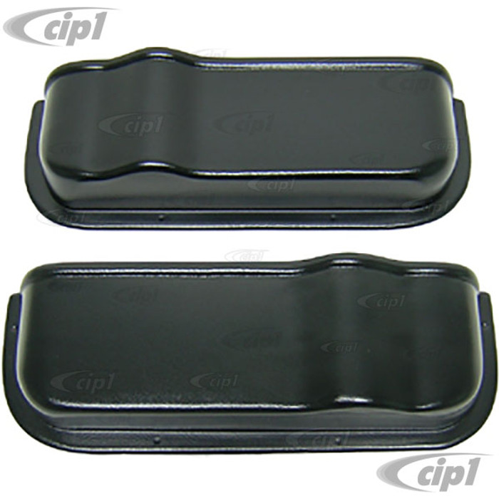 C27-J12374 - (EMPI 98-8619) PAIR OF BLACK PLASTIC DOOR STORAGE POCKETS - 14.75 INCHES LONG - SCREW-ON DESIGN - HARDWARE NOT INCLUDED - BUS 68-79 - SOLD LEFT AND RIGHT PAIR