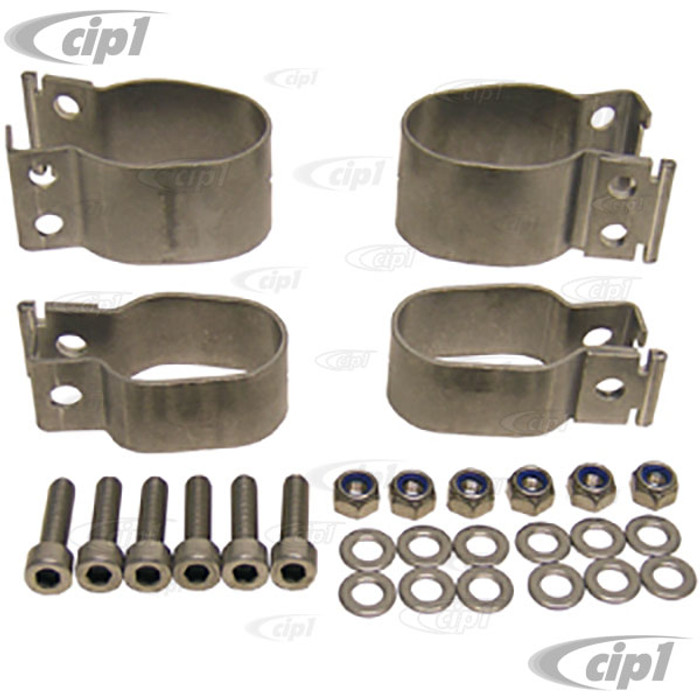 C31-498-101-111CSP - CSP MADE IN GERMANY - BEST QUALITY STAINLESS STEEL SWAYBAR BRACKET KIT - KING-PIN FRONT BEAM - BEETLE/GHIA 52-65 - SOLD IN SET OF 4 WITH HARDWARE