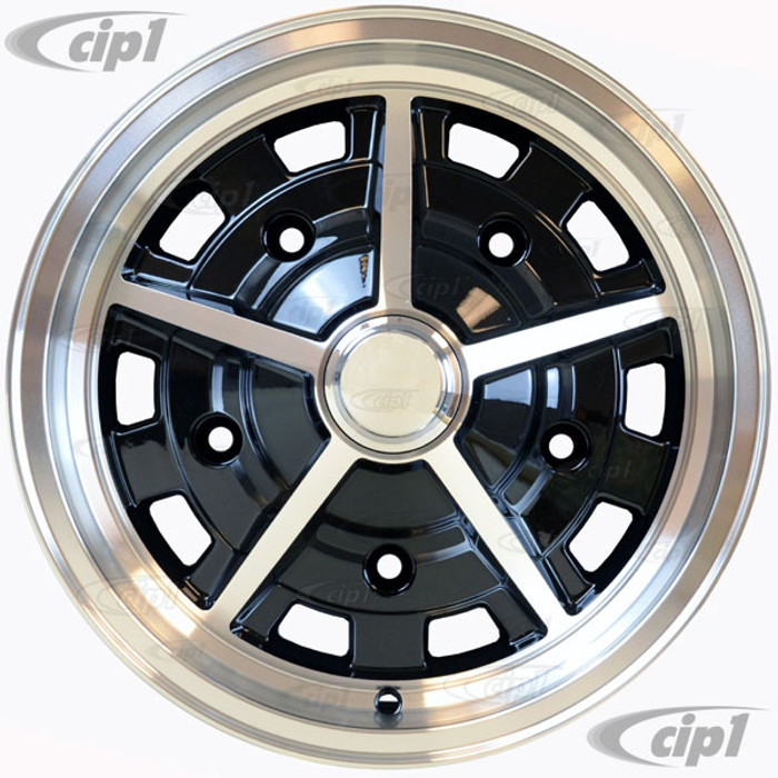 C32-5515SAS520514BM - CIP EXCLUSIVE! - SUPER SLOT WHEEL W/CENTER CAP AND VALVE STEM - GLOSS BLACK WITH BRITE LIP & SPOKES - 15 INCH X 5.5 INCH WIDE - (BACKSPACING 3.89INCH ET+14) 5 BOLT X 205MM - BALL SEAT HARDWARE SOLD SEP. - SOLD EACH