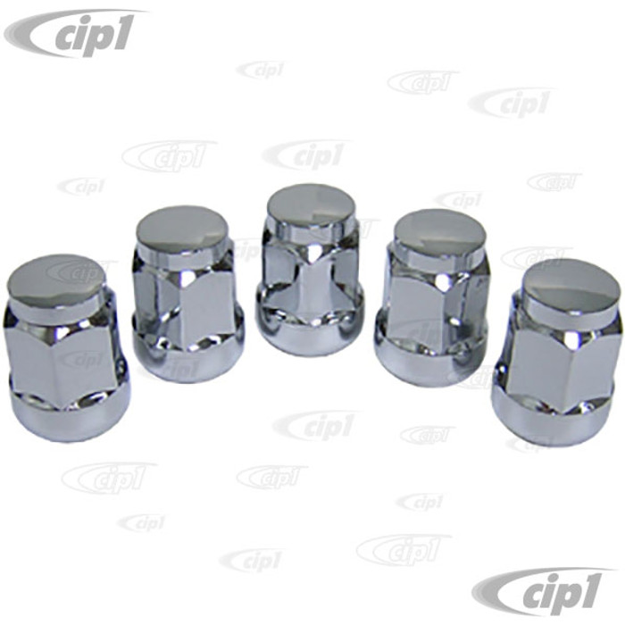 C32-6660 - CHROME PLATED 14MM WHEEL NUT WITH BALL-SEAT - FOR GAS-BURNER WHEEL ON 71-79 BUS - 5 PIECE SET