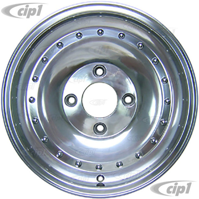 C32-CLP4 - POLISHED CENTERLINE STYLE ALUMINUM WHEEL - 5.5 INCH X 15 INCH WIDE (3 INCH BACKSPACE) - 4 BOLT X 130MM - BEETLE 68-79 / GHIA 68-74 / TYPE-3 66-73 - CENTER CAP AND 14MM BOLTS SOLD SEP. - SOLD EACH - (A20)