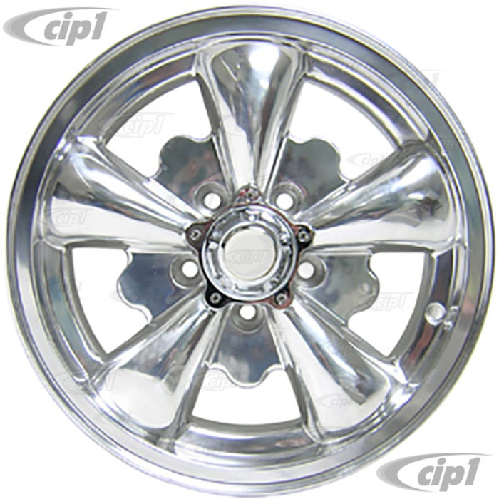 C32-E251P - 5 SPOKE ALUMINUM WHEEL - FULLY POLISHED - 5.5 INCH WIDE X 15 INCH DIA. - 5X112MM BUS 71-79 BOLT PATTERN WITH CENTER CAP - USES 60% ACORN HARDWARE - HARDWARE SOLD SEPARATELY - SOLD EACH - (A20)