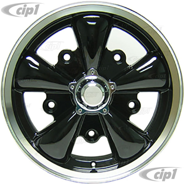 """C32-E252B - BLACK 5 SPOKE ALUMINUM WHEEL - 5.5 INCH WIDE X 15 INCH DIA. (4"""" BACKSPACING) - 5X205MM PATTERN WITH CENTER CAP - USES 60% ACORN HARDWARE - HARDWARE SOLD SEPARATELY - SOLD EACH - (A20)"""