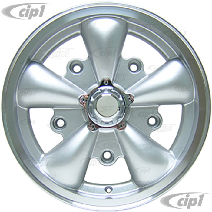 """C32-E252S - SILVER 5 SPOKE ALUMINUM WHEEL - 5.5 INCH WIDE X 15 INCH DIA. (3-3/4"""" BACKSPACING) - 5X205MM PATTERN WITH CENTER CAP - USES 60% ACORN HARDWARE - HARDWARE SOLD SEPARATELY - SOLD EACH - (A20)"""