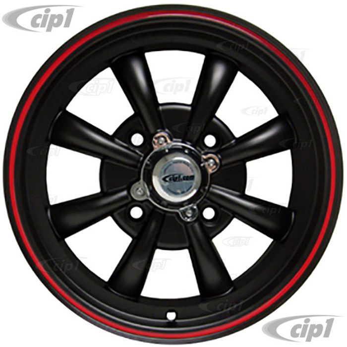 C32-E28MBRR - MATTE BLACK W/RED RIM 8 SPOKE ALUMINUM WHEEL - 5.5 INCH WIDE X 15 INCH DIA. WITH 4.6 IN. BACKSPACE - 4X130MM - CENTER CAPS & VALVE STEMS INC. - USES 60% ACORN HARDWARE - HARDWARE SOLD SEPARATELY - SOLD EACH - (A20)