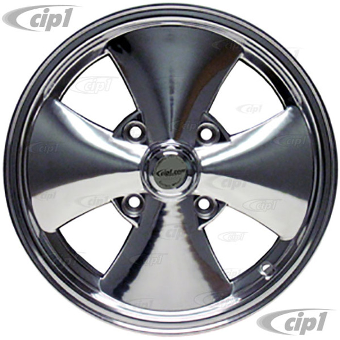C32-EIC-P - 4 SPOKE IRON CROSS WHEEL W/CENTER CAP - FULLY POLISHED - 15 INCH X 5.5 INCH WIDE (3 7/8 INCH BACKSPACE) - 4 BOLT X 130MM - BEETLE 68-79 / GHIA 68-74 / TYPE-3 66-73 - HARDWARE SOLD SEP. - SOLD EACH - (A20)