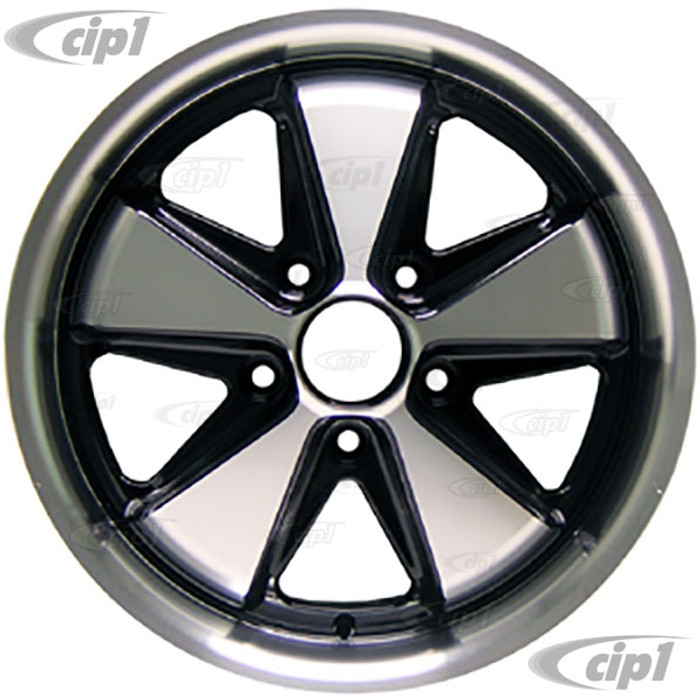 C32-FU172B - 911 STYLE 5 SPOKE ALUMINUM WHEEL - BLACK AND MACHINED/POLISHED SPOKES - 7 INCH WIDE X 17 INCH DIA.(5.5 IN. BACKSPACE/ET40) - 5X130MM BOLT PATTERN - CENTER CAP AND HARDWARE SOLD SEPARATELY - SOLD EACH