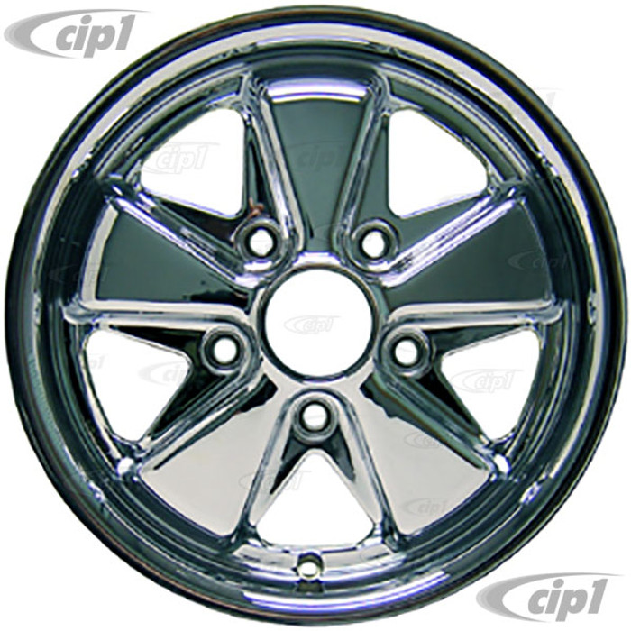 C32-FU552C - (9679) 911 STYLE 5 SPOKE ALUMINUM WHEEL - FULLY CHROMED - 5.5 INCH WIDE X 15 INCH DIA. - 5X130MM BOLT PATTERN (4.5 INCH BACKSPACE) - CENTER CAP AND HARDWARE SOLD SEPARATELY - SOLD EACH