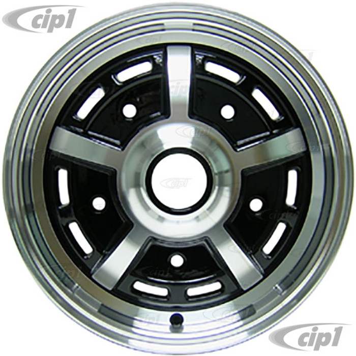 C32-SPR52-B - 5 BOLT X 205MM SPRINT STAR ALUMINUM WHEEL - BLACK WITH POLISHED SPOKES - 5 INCH WIDE X 15 INCH DIA. (3-1/2 INCH BACKSPACE) - CENTER CAP AND ACORN MOUNTING HARDWARE SOLD SEP. - SOLD EACH - (A20)