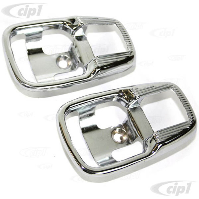 C33-S01476 - (113837239B - 113-837-239B) - GERMAN QUALITY FROM C&C U.K. - CHROME RELEASE HANDLE SURROUNDS - STANDARD BEETLE 67-77 / GHIA 65-70 / BUS 74-79 / TYPE-3 62-73 - SOLD PAIR