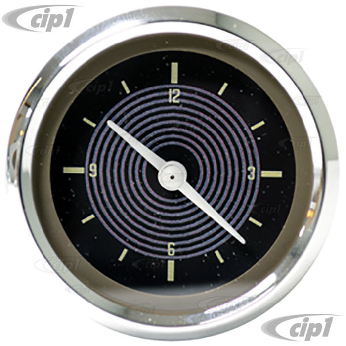 C34-EAC1-1052-90C - OE STYLE EARLY 12V CLOCK WITH BROWN FACE/CHROME BEZEL – KARMANN GHIA / BUS TO 1967 - 52MM OR 2-1/16 INCH DIAMETER - SOLD EACH