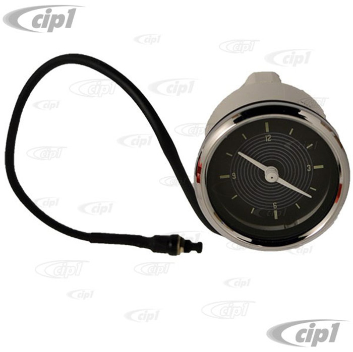 C34-EAC1-1052-91C - OE STYLE EARLY 12V CLOCK WITH BLACK FACE/CHROME BEZEL - 52MM OR 2-1/16 INCH DIAMETER - SOLD EACH