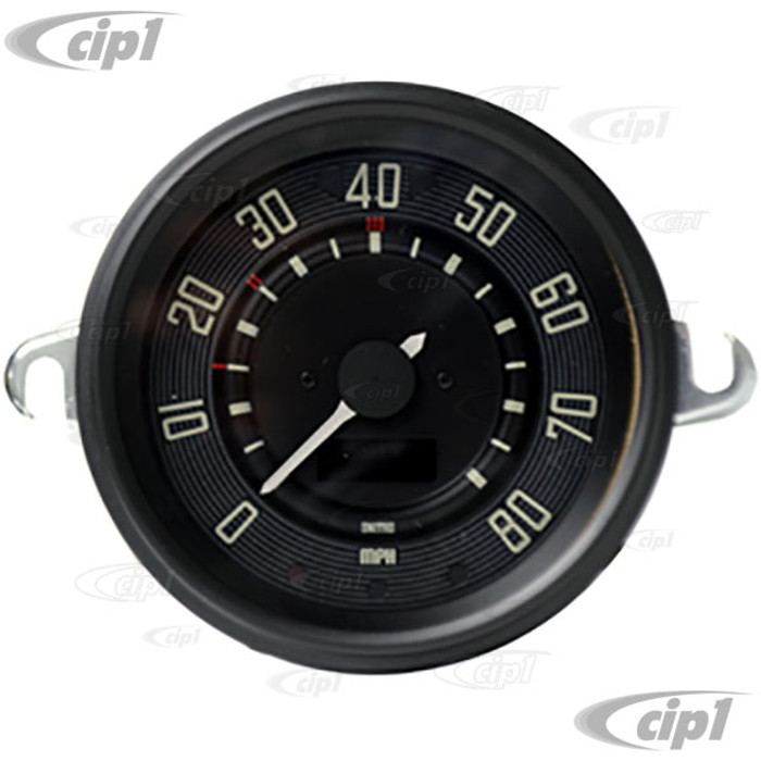 C34-EES9-1B36-02B - OE STYLE BLACK PROGRAMMABLE ELECTRONIC 80 MPH SPEEDOMETER WITH SENDING UNIT & WIRING HARNESS - SPEEDO CABLE IS NOT INCLUDED (WITHOUT FUEL GAUGE) - STD BEETLE 67-77 - SUPER BEETLE 71-72