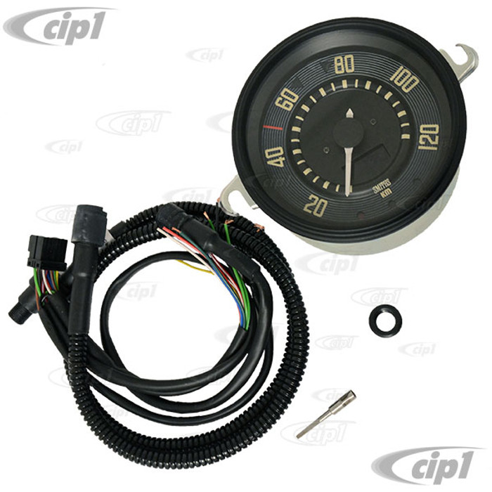 C34-EES9-1B36-03B – OE STYLE EARLY 12V PROGRAMMABLE ELECTRONIC KMH SPEEDOMETER WITH BLACK BEZEL (SENSOR & WIRING HARNESS INCLUDED - SPEEDO CABLE IS NOT INCLUDED) – BEETLE TO 1967 (ALSO FITS BUS TO 67) - 115MM OR 4.5INCH DIAMETER - SOLD EACH