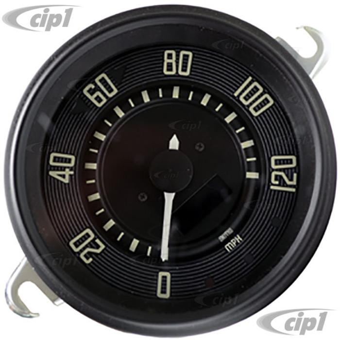 C34-EES9-1B36-04B - OE STYLE BLACK PROGRAMMABLE ELECTRONIC 120 MPH SPEEDOMETER WITH SENDING UNIT & WIRING HARNESS - SPEEDO CABLE IS NOT INCLUDED (WITHOUT FUEL GAUGE) - STD BEETLE 67-77 - SUPER BEETLE 71-72