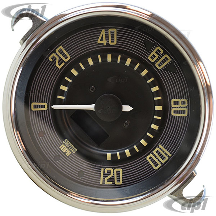 C34-EES9-1B36-04C - OE STYLE BLACK PROGRAMMABLE ELECTRONIC 120 MPH SPEEDOMETER WITH SENDING UNIT & WIRING HARNESS - SPEEDO CABLE IS NOT INCLUDED (WITHOUT FUEL GAUGE) - STD BEETLE 67-77 - SUPER BEETLE 71-72