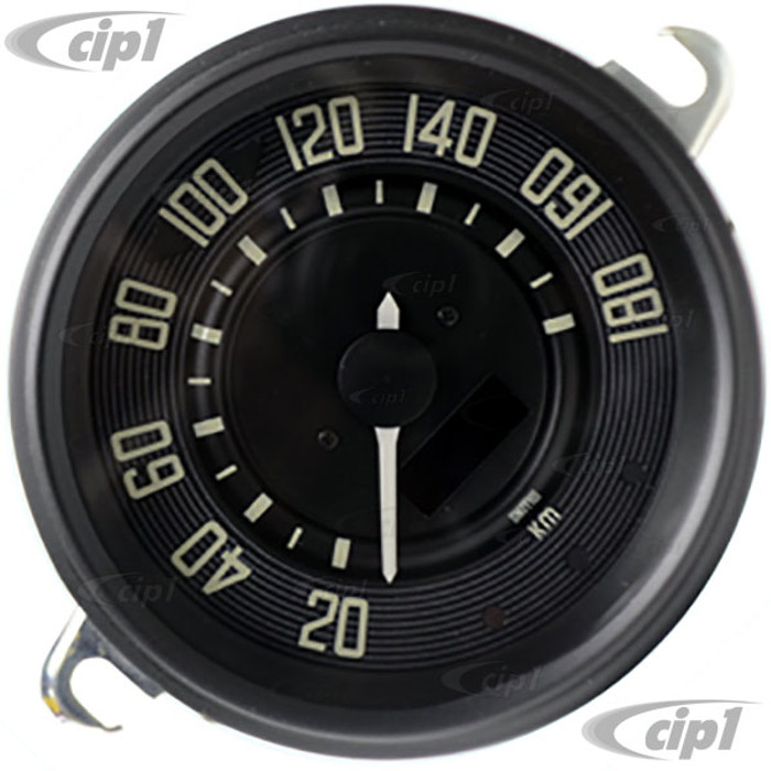 C34-EES9-1B36-05B - OE STYLE BLACK PROGRAMMABLE ELECTRONIC 180 KPH SPEEDOMETER WITH SENDING UNIT & WIRING HARNESS - SPEEDO CABLE IS NOT INCLUDED (WITHOUT FUEL GAUGE) - STD BEETLE 67-77 - SUPER BEETLE 71-72