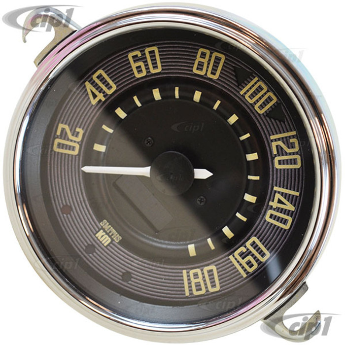 C34-EES9-1B36-05C - OE STYLE BLACK PROGRAMMABLE ELECTRONIC 180 KPH SPEEDOMETER WITH SENDING UNIT & WIRING HARNESS - SPEEDO CABLE IS NOT INCLUDED (WITHOUT FUEL GAUGE) - STD BEETLE 67-77 - SUPER BEETLE 71-72