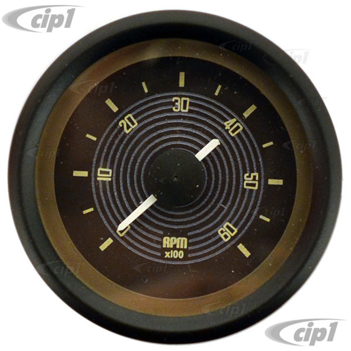 C34-EET1-13B2-01B - 52MM TACHOMETER FOR DASH HOLE BUS 52-67 BROWN FACE WITH BLACK BEZEL (WILL FIT ANY 52MM DASH HOLE) - SOLD EACH