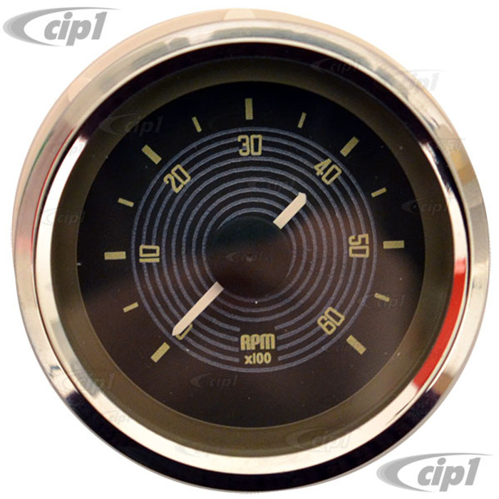 C34-EET1-13B2-01C - 52MM TACHOMETER FOR DASH HOLE BUS 52-67 BROWN FACE WITH CHROME BEZEL (WILL FIT ANY 52MM DASH HOLE) - SOLD EACH