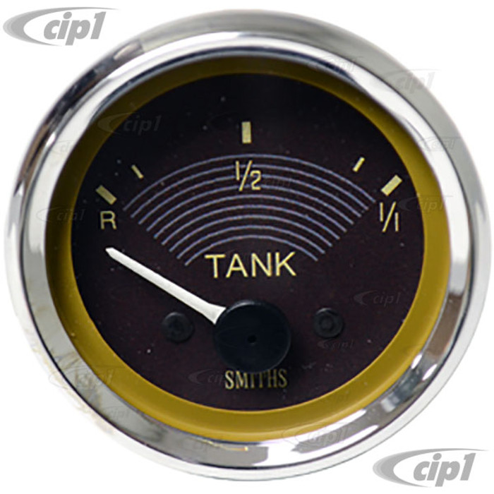 C34-EFC1-6352-01C – OE STYLE BROWN FACE/CHROME BEZEL - EARLY 6V IN DASH FUEL GAUGE – KARMANN GHIA / BUS TO 1967 - 52MM OR 2-1/16 INCH DIAMETER - SOLD EACH