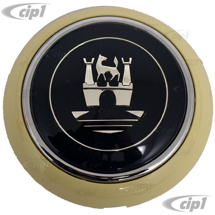 C38-I-249C - (211-415-669 211415669) FLAT 4 - IVORY DELUXE HORN BUTTON WITH SILVER CASTLE CREST - BUS 55-67 - BEETLE 56-59 - SOLD EACH