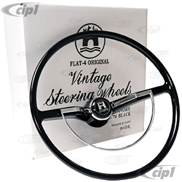 C38-IN-213A - FLAT-4 - COMPLETE STEERING WHEEL KIT - CHARCOAL(BLACK) 100% NEW - BEETLE SEDAN 62-71- BEETLE CONV. 62-70 - GHIA 62-71 - TYPE-3 62-71 (INCLUDES CANCELLATION RING)