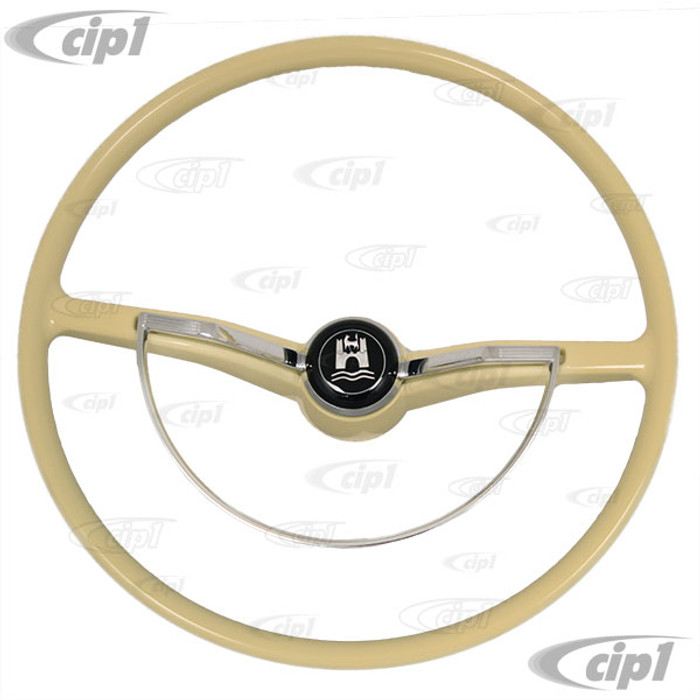 C38-IN-213B - FLAT-4 - BEST QUALITY - COMPLETE STEERING WHEEL KIT - IVORY - 100% NEW - BEETLE SEDAN 62-71- BEETLE CONV. 62-70 - GHIA 62-71 - TYPE-3 62-71 (INCLUDES CANCELLATION RING)