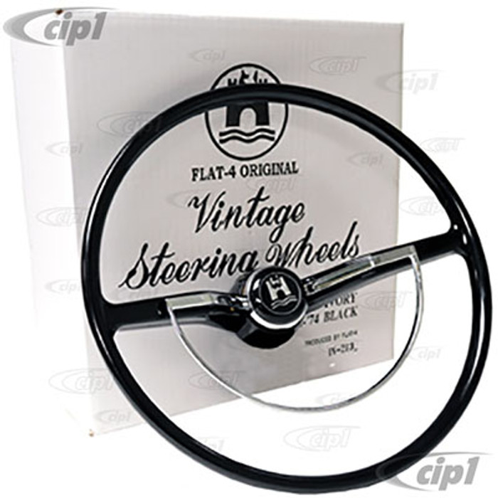 C38-IN-214A - FLAT-4 - BEST QUALITY - COMPLETE EARLY STYLE STEERING WHEEL KIT - BLACK - ALL MEXICAN MODEL BEETLE 74-ON (WILL FIT GERMAN BEETLE 74.5-79 WITH MOD'S TO TURN SIGNAL ARM) - 16MM SHAFT (CANCELLATION RING SOLD SEP. SEE 113-415-660-A) - SOLD