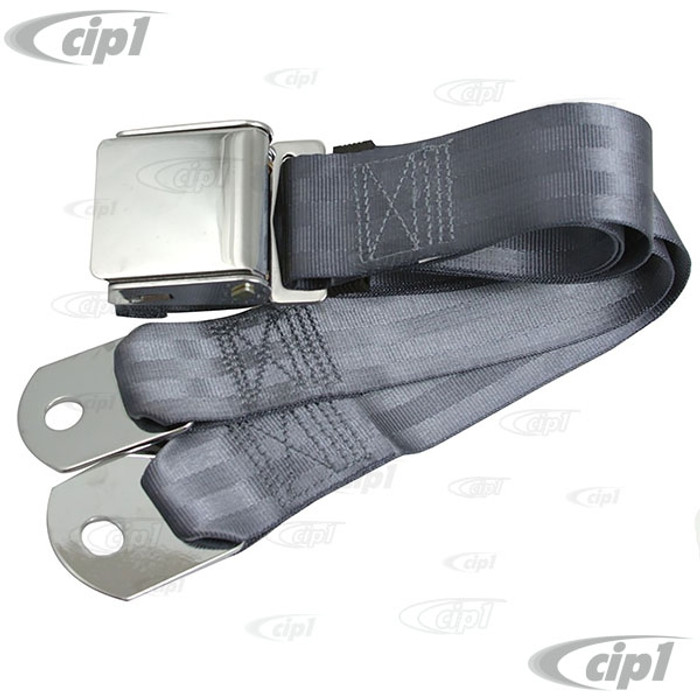 C45-2P-60-BLU - BLUE 60 INCH LAP BELT W/ CHROME VINTAGE BUCKLE / CHROME ENDS 60INCH TOTAL LENGTH