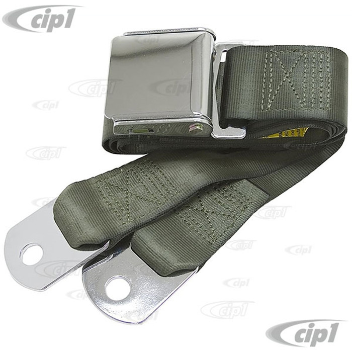 C45-2P-60-GRN - GREEN 60 INCH LAP BELT W/ CHROME VINTAGE BUCKLE / CHROME ENDS 60INCH TOTAL LENGTH