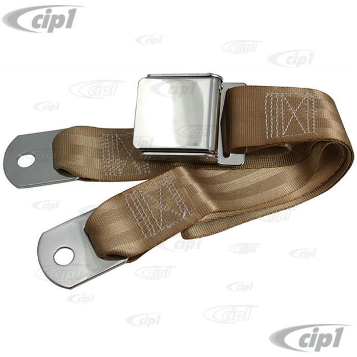 C45-2P-75-TAN - TAN 75 INCH LAP BELT W/ CHROME VINTAGE BUCKLE / CHROME ENDS 75INCH TOTAL LENGTH