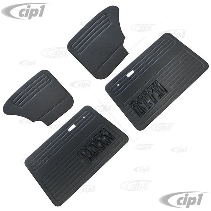 T10-1129-11 - 67-77 BEETLE SEDAN DOOR PANEL SET FRONT AND REAR W/ MAP POCKETS - BLACK - (A20)