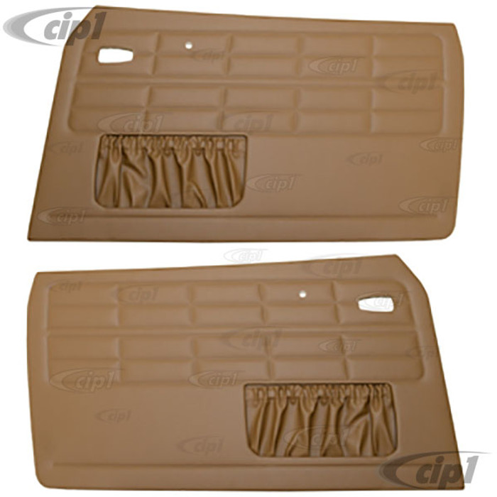 T10-1505-13 - 64-74 GHIA FRONT DOOR PANEL SET W/ MAP POCKETS - TAN - (A20)