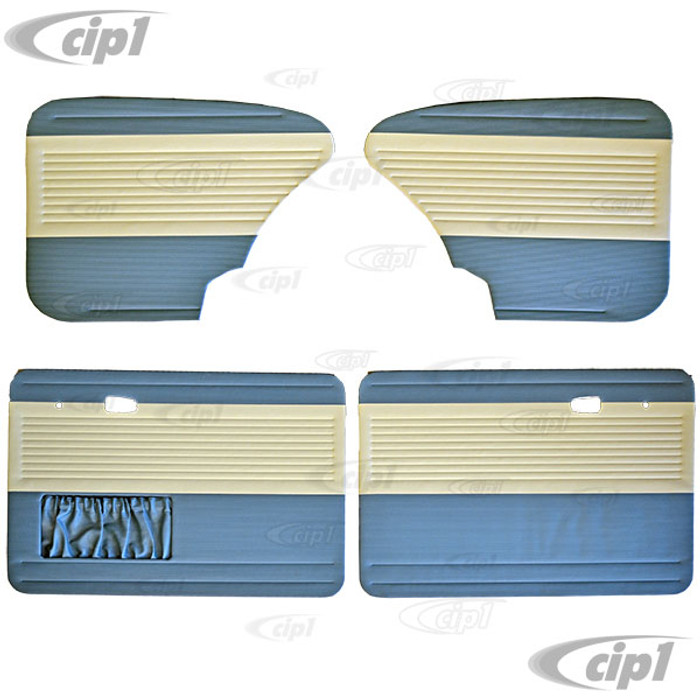 T19-1124-2415 - OEM CLASSIC RIBBED VINYL DOOR PANEL SET - BEETLE SEDAN 67-77 - WATER BLUE WITH OFF-WHITE INSERTS (PANEL SHAPE MAY VARY FROM PICTURE) - SOLD 4 PIECE SET