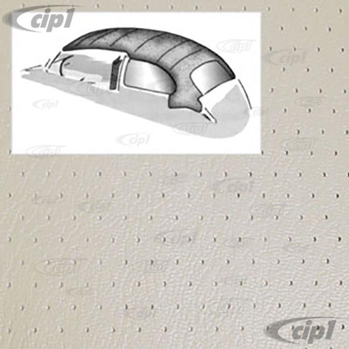 T20-1102-44 - 46-67 BEETLE SEDAN 1PC HEADLINER WITH DOOR POST MATERIAL - OFF-WHITE PERFORATED VINYL