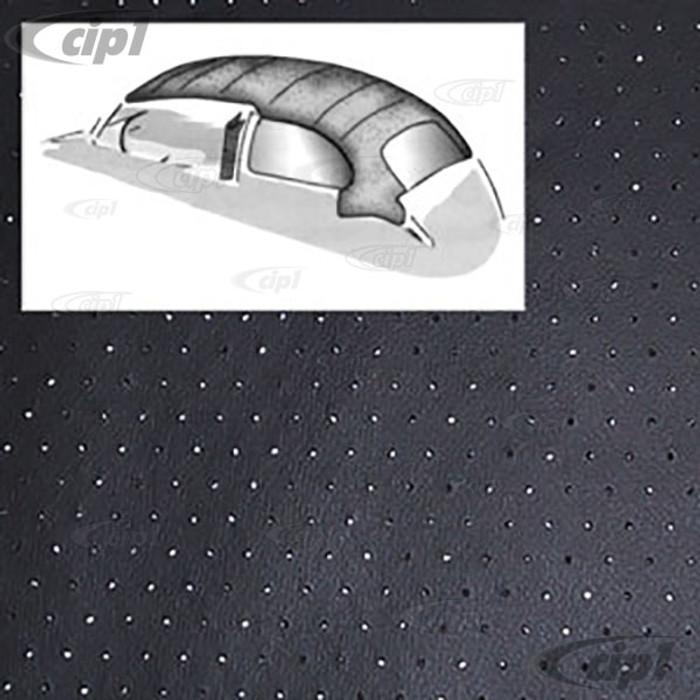 T20-1102-45 - 46-67 BEETLE SEDAN 1PC HEADLINER WITH DOOR POST MATERIAL - BLACK PERFORATED VINYL