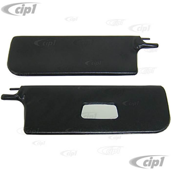 T21-1313-211 - BLACK VINYL SUNVISORS WITH MIRROR - 65-72 BEETLE CONVERTIBLE (W/O HARDWARE) - PAIR