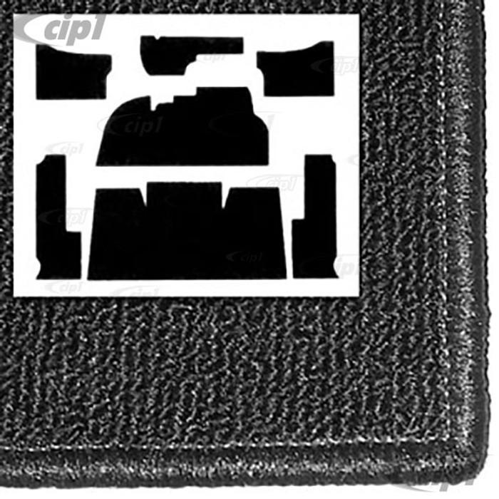 T34-F1106-301 - 58-68 BEETLE  7PC CARPET SET -BLACK FOR FOOTREST - WITH HEATER GROMMETS
