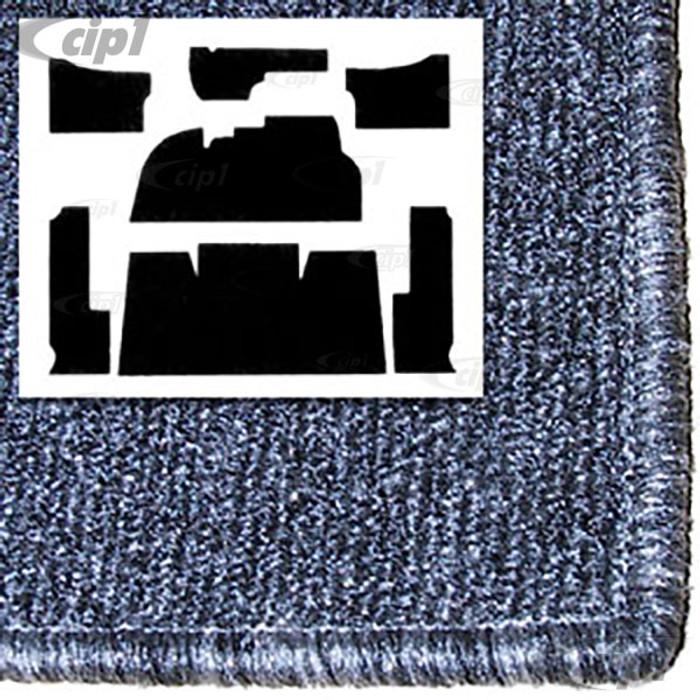 T34-F1106-407 - 58-68 BEETLE  7PC CARPET SET -SALT&PEPPER GREY FOR FOOTREST - WITH HEATER GROMMETS