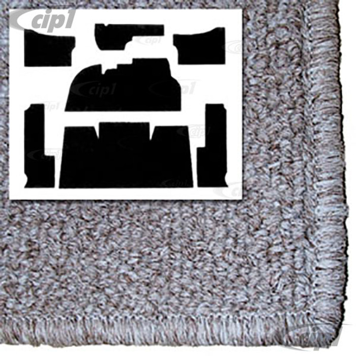 T34-F1108-628 - 69-72 - STANARD BEETLE - 7 PIECE CARPET SET - OATMEAL TAN - FOR USE WITH FOOTREST PLATE - SOLD SET