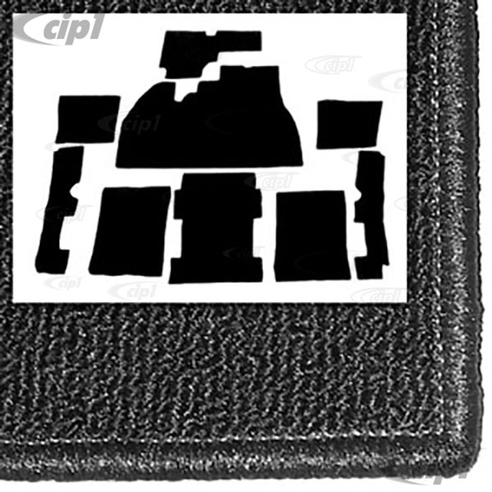 T34-F1110-301 - 73-77 - STANARD BEETLE - 9 PIECE CARPET SET - BLACK - FOR USE WITH FOOTREST PLATE - SOLD SET