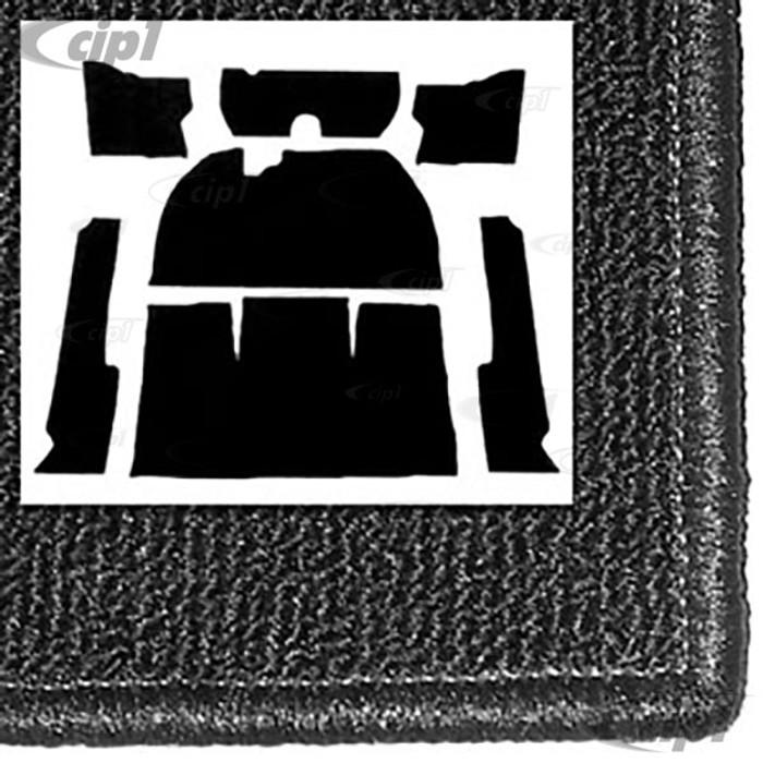 T34-F1115-301 - 54-56 1/2 STD BEETLE  7PC CARPET SET -BLACK  WITH HEATER GROMMETS