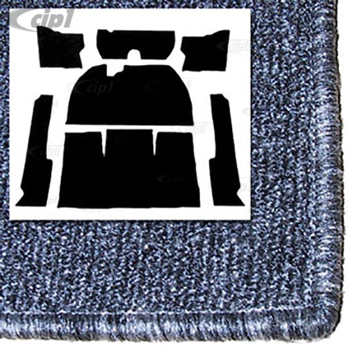 T34-F1115-407 - 54-56 1/2  STD BEETLE  7PC CARPET SET -SALT&PEPPER GREY WITH HEATER GROMMETS