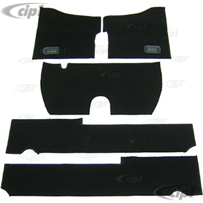 T34-F1117-301 - 58-68 BEETLE 5PC CARPET SET (FOR USE WITH ORIGINAL RUBBER MATS) - BLACK