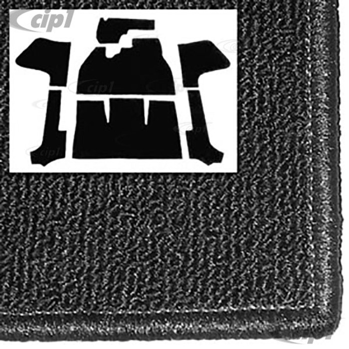 T34-F1318-301 - 56-68 BEETLE CONVERTIBLE 7PC CARPET SET WITH HEATER GROMMET - BLACK