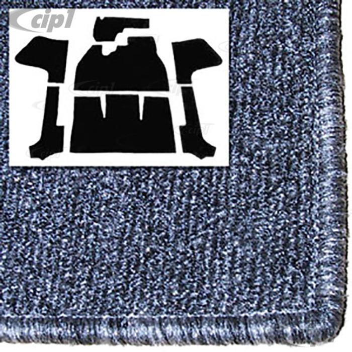 T34-F1318-407 - 56-68 BEETLE CONVERTIBLE 7PC CARPET SET WITH HEATER GROMMET - SALT&PEPPER GREY