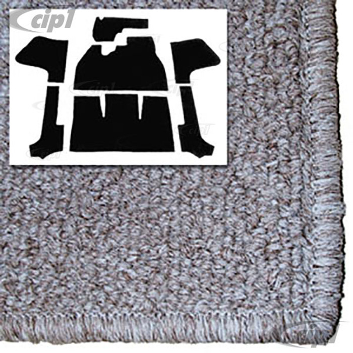 T34-F1318-628 - 56-70 BEETLE CONVERTIBLE 7PC CARPET SET WITH HEATER GROMMET - OATMEAL TAN